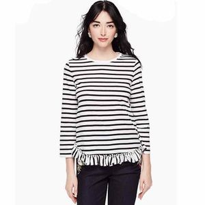 ♠️ Kate Spade Black&White Striped Long Sleeve M